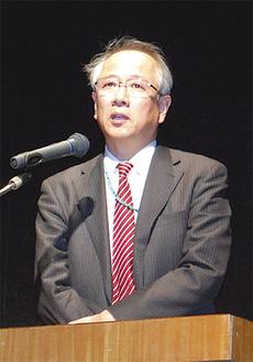 講演した中川和之氏。被災地を取材した経験を生かし、防災力強化の必要性を訴えた