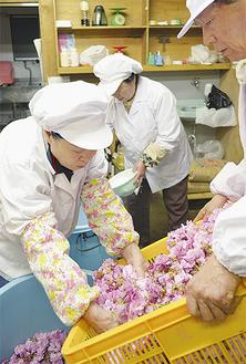 桜と梅酢の香りが漂う作業場。長年の経験がものをいう