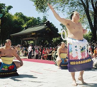 土俵入りをする日馬富士関(右)