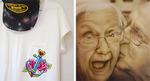 肌の質感がリアルな作品(右)とデザインしたTシャツ