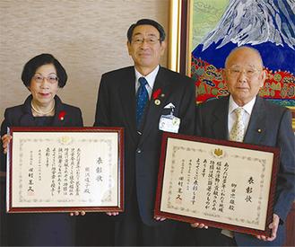古谷市長を表敬訪問した熊澤さん(左)と栁田さん