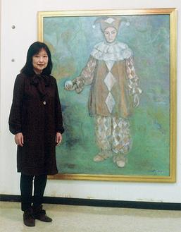 市展大賞を受賞した大木さんと作品