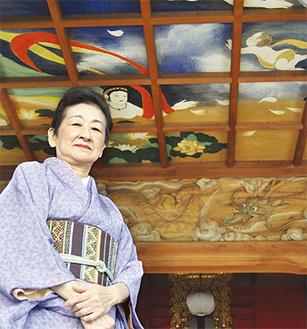 紫藤さんが手掛けた善昌寺の天井画(同寺の見学は要予約)