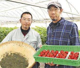 須藤委員長(左)といちご生産者の三武さん