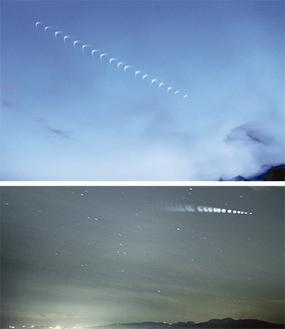 写真上:上昇するH2Aロケット(2秒毎合成)写真下:夜空を横切る同ロケット(画面右上・2秒毎合成)