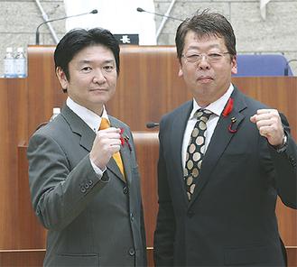 「創秦クラブ」の加藤ごう(左)と谷かずお