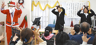 手話をしながら「赤鼻のトナカイ」を歌う参加者