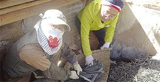 窯から出された竹炭