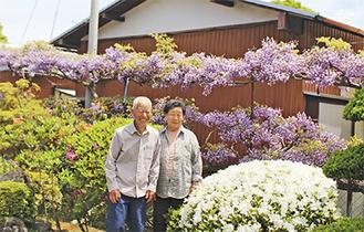 満開の藤の前で笑顔を見せる桐山さん夫婦