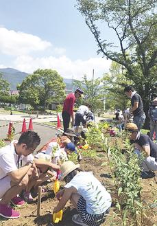 植樹するメンバーら