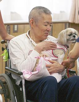 穏やかな表情で活動犬を抱く高齢者