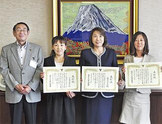 左から古谷市長、中島さん、小野寺さん、川崎さん