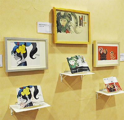 書籍とともに装幀原画が展示されているコーナーも