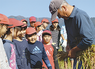 地元ボランティアから稲の束ね方を教わる児童ら
