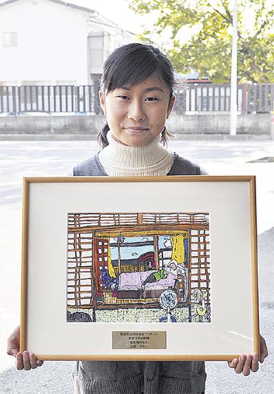 江原さんと作品「曽祖母の毎日」