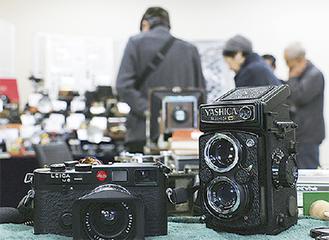 多くのクラシックカメラが並んだ
