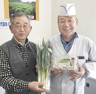 生産者の諸星さん(左)と穐山社長