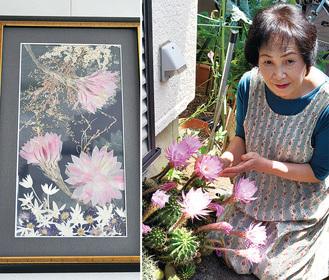 サボテンの花を押し花作品にした大島さん