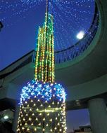 渋沢駅を照らすイルミの光