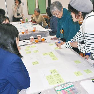 思い思いの活用アイデアを付箋に書き、紙に貼っていく参加者