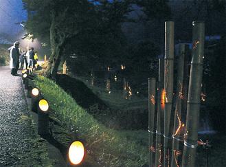 竹からの光でほんのり明るい会場周辺(29日撮影)