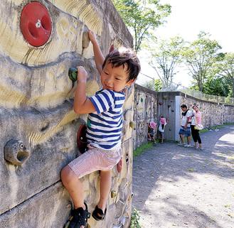 ミニクライミングウォールで遊ぶ子どもたち