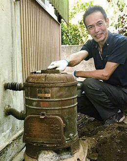 秦野市平沢のK様邸。今では珍しい薪給湯器、最新のものに交換しました。こんな出合いも楽しみの一つ