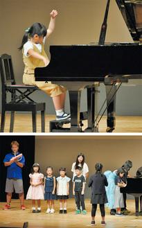 ピアノ演奏する児童(写真上)と、特別ステージの校歌演奏(写真下)