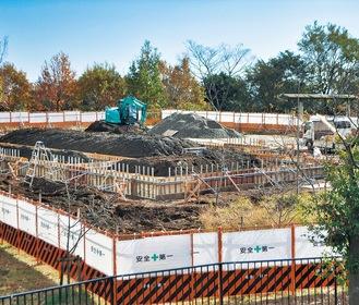 戸川公園内に整備が進む「はだの丹沢クライミングパーク」