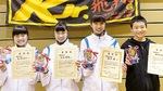 右から優秀選手の相田君、最優秀選手の瀬戸さん、優秀選手の小川さん、長澤さん