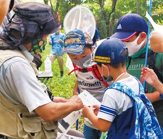 見つけた虫を高橋所長(左)に報告する子どもたち