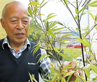 竹の花を手にする成田さん