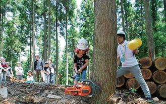 伐採体験の様子