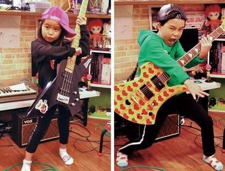 ギターの音太朗君(右)とベースの音寧ちゃん