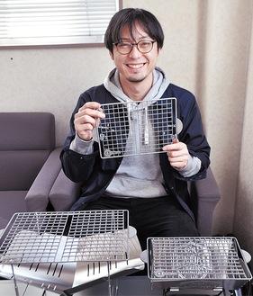 開発したchicca meshを手にする武田社長