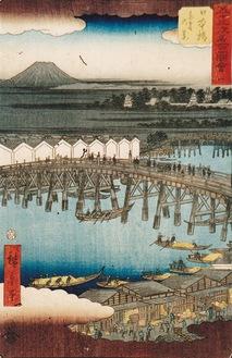 歌川広重「五十三次名所図会(竪絵東海道)一 日本橋 東雲の景」