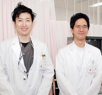 笑顔の三上公志部長(右)と小野瀬好英医師(左)