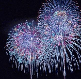昨年度たばこ祭のメモリアル打上花火の様子(秦野市提供)