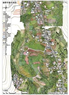 空撮写真を繋ぎ合わせ情報を落とし込んだマップ