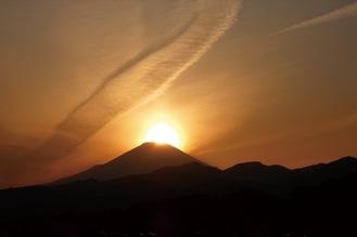 富士山の山頂近くに沈む太陽(東田原/2020年3月撮影)