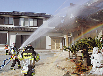 東光寺で防火訓練