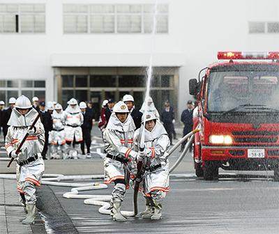 日立の自衛消防隊が出初