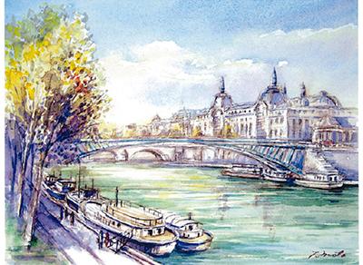 パリの街角風景・水彩画展
