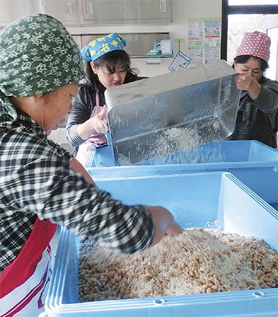 戸川の大豆で味噌づくり