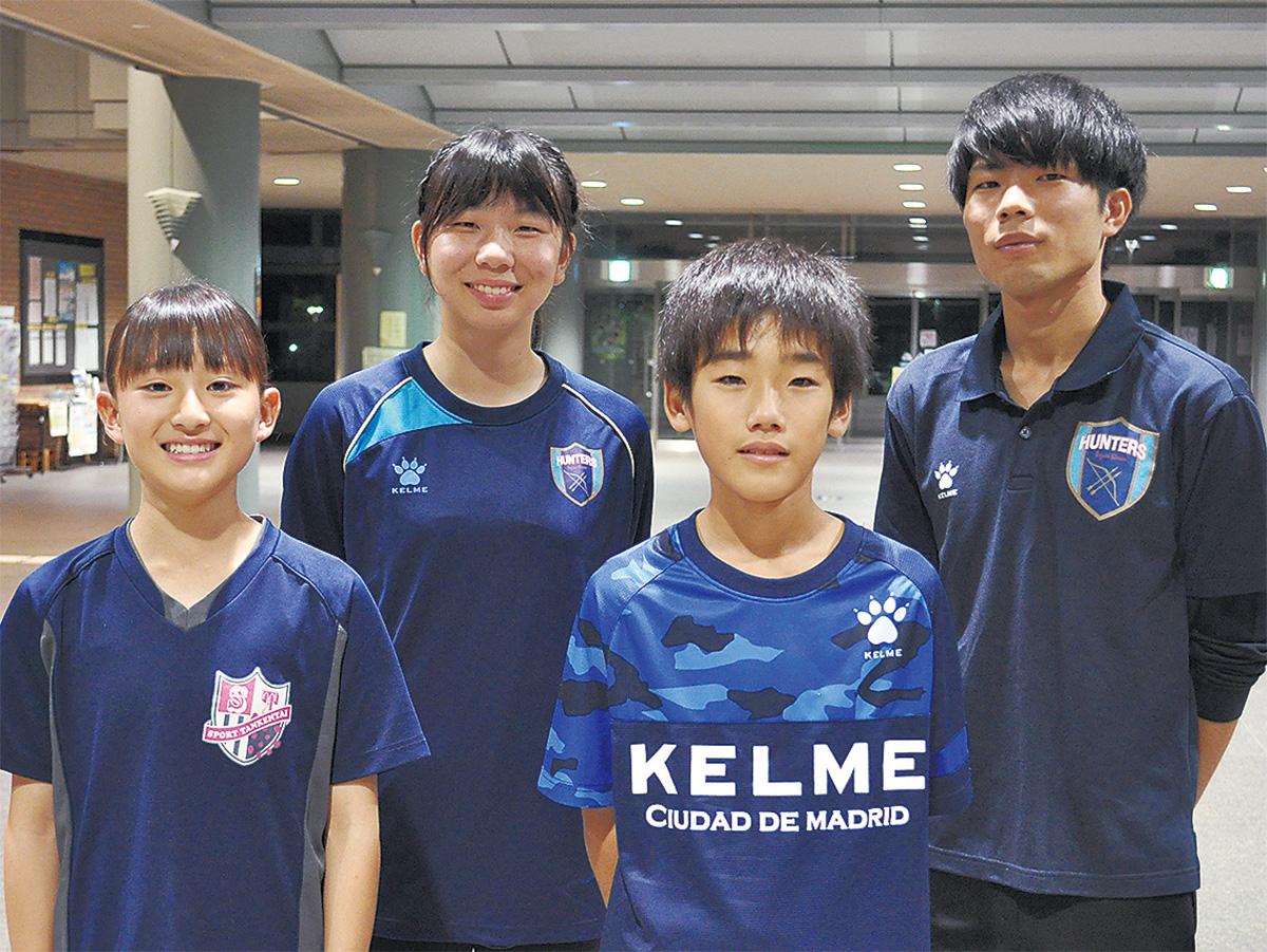 日本代表選手となった(左から)滝本選手、坪木選手、冨山選手、太田選手
